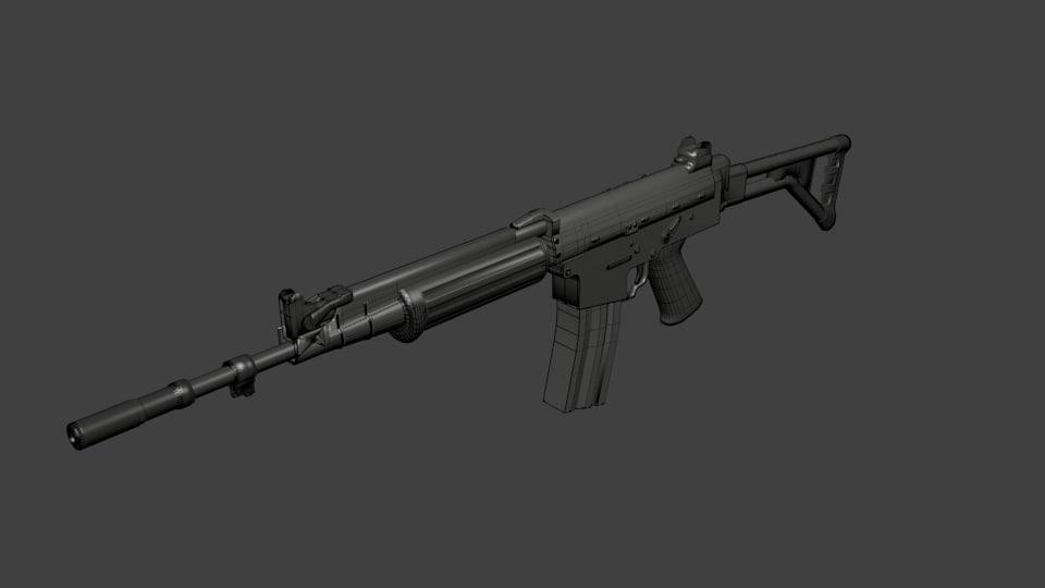 fn fnc assault rifle 3d model