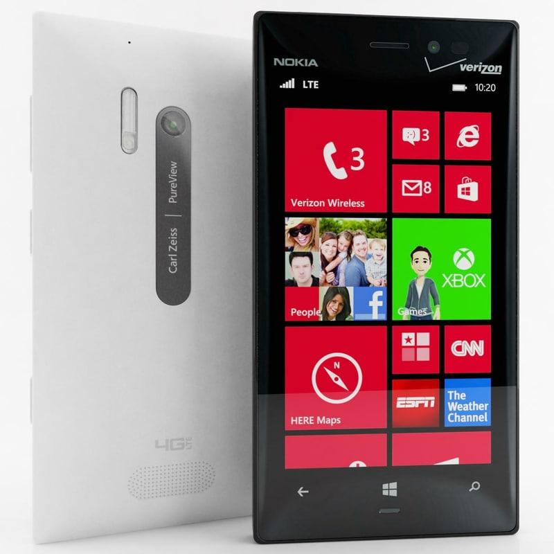 nokia lumia 928 black 3d 3ds