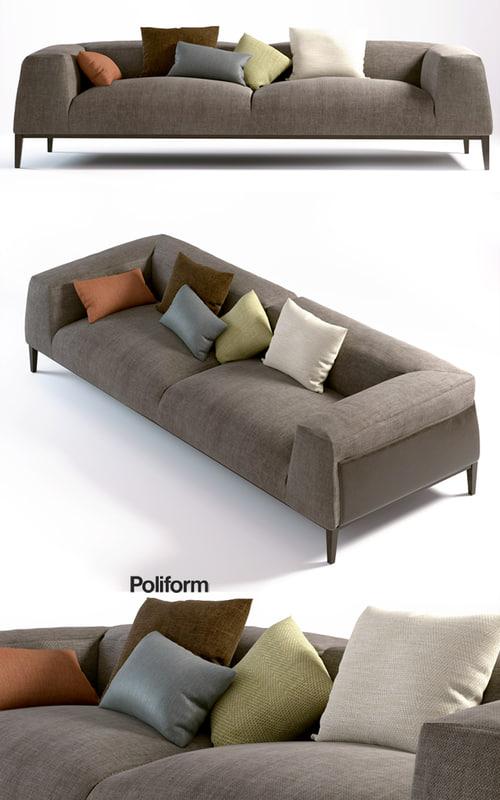 poliform metropolitan sofa 3d model. Black Bedroom Furniture Sets. Home Design Ideas