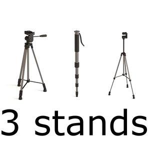 stands monopod tripods 3d model