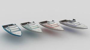 3d motorboat boat library model