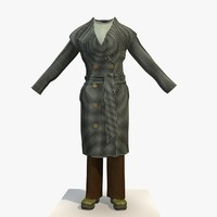 womans checkered winter 3d model