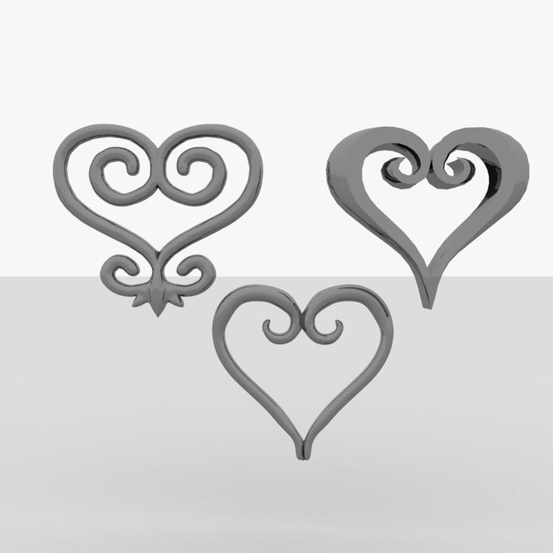 3ds sankofa symbol africa hearts