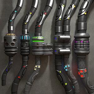 3d model of futuristic cables connectors wiring