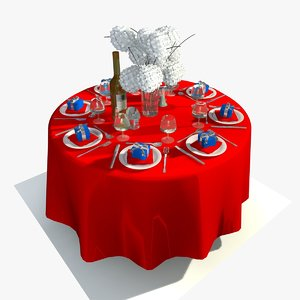 restaurant dining table sets 3d model