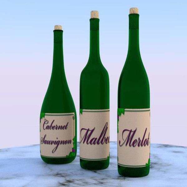 3 wine bottles 3d obj