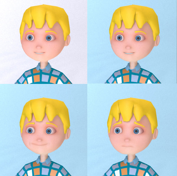 3d cute cartoon boy character model