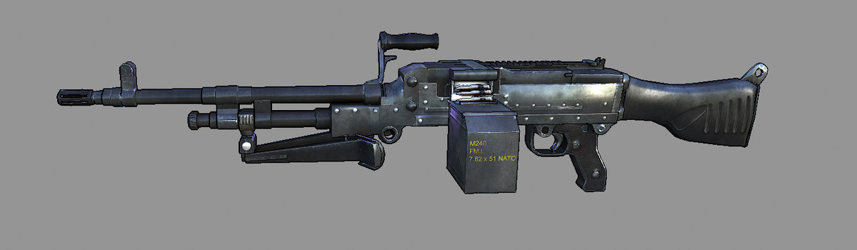 gun m240 machinegun 3d model