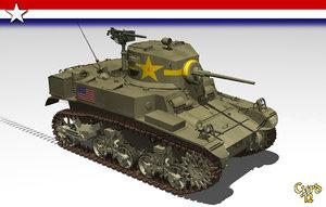 3d model light tank m3a1 stuart