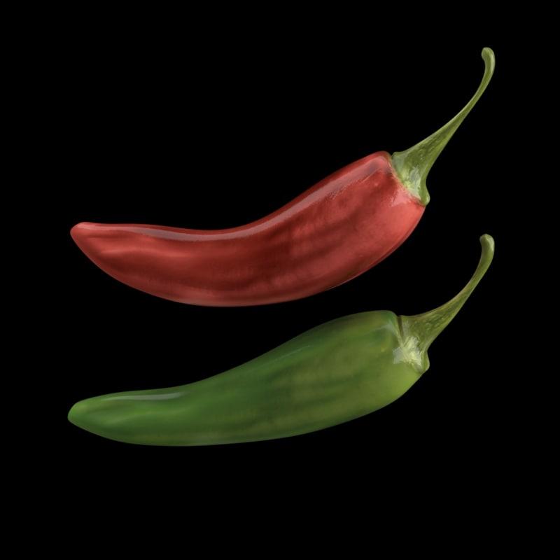 pepper chili 3d obj