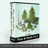 pine tree bush 3d model