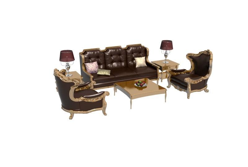 model living room furniture interior set