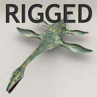 Plesiosaurus lowpoly rigged