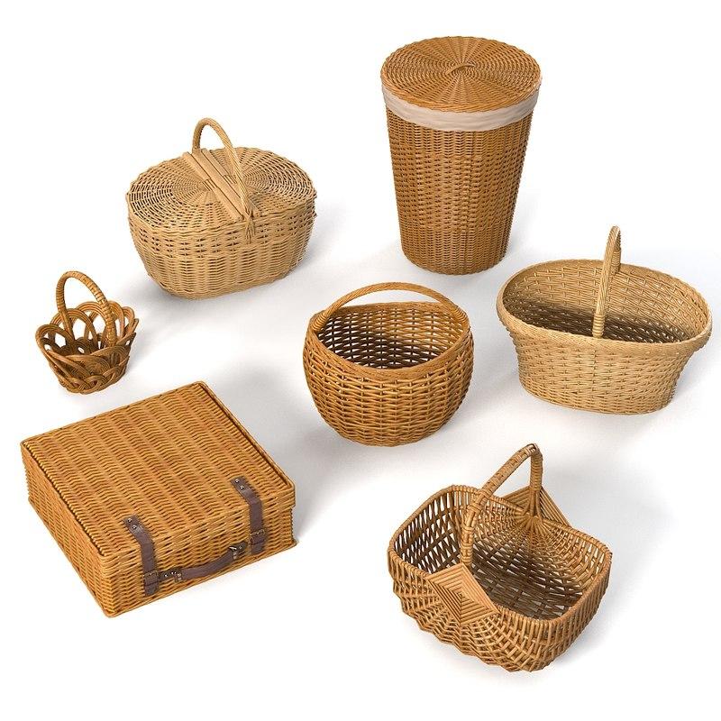 wicker basket 3d max
