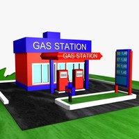 3ds cartoon gas station
