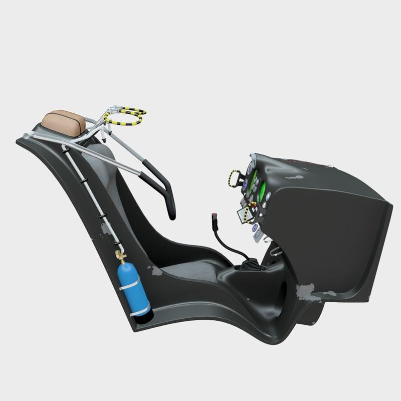 3d model cockpit seat fighter