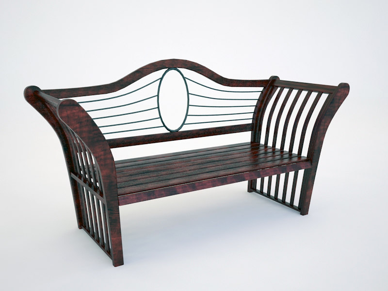 free red wood garden bench 3d model