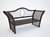 free red wood garden bench 3d model