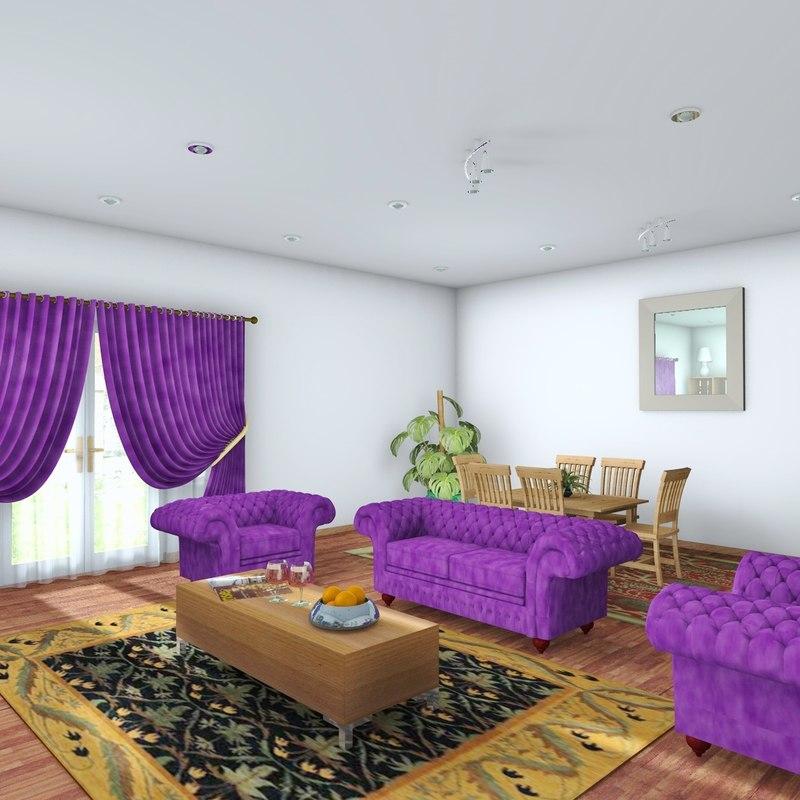 living room scene architectural 3d c4d