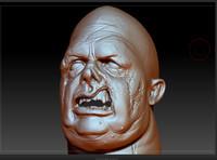 zbrush zombie head fat 3d model
