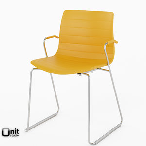 3d chair sled leather arper model