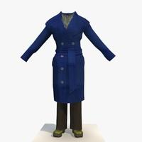 3d model womans blue winter