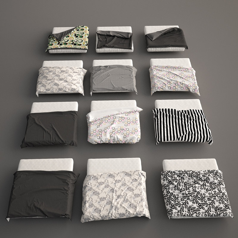 3d model bed blanket covers set