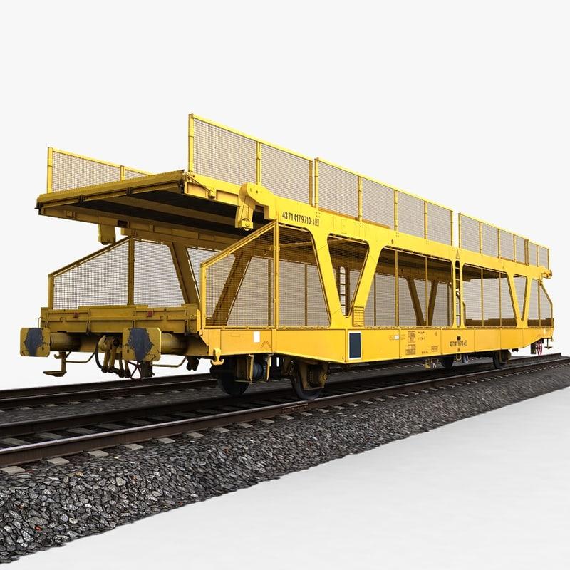 3d model car transporter wagon 1