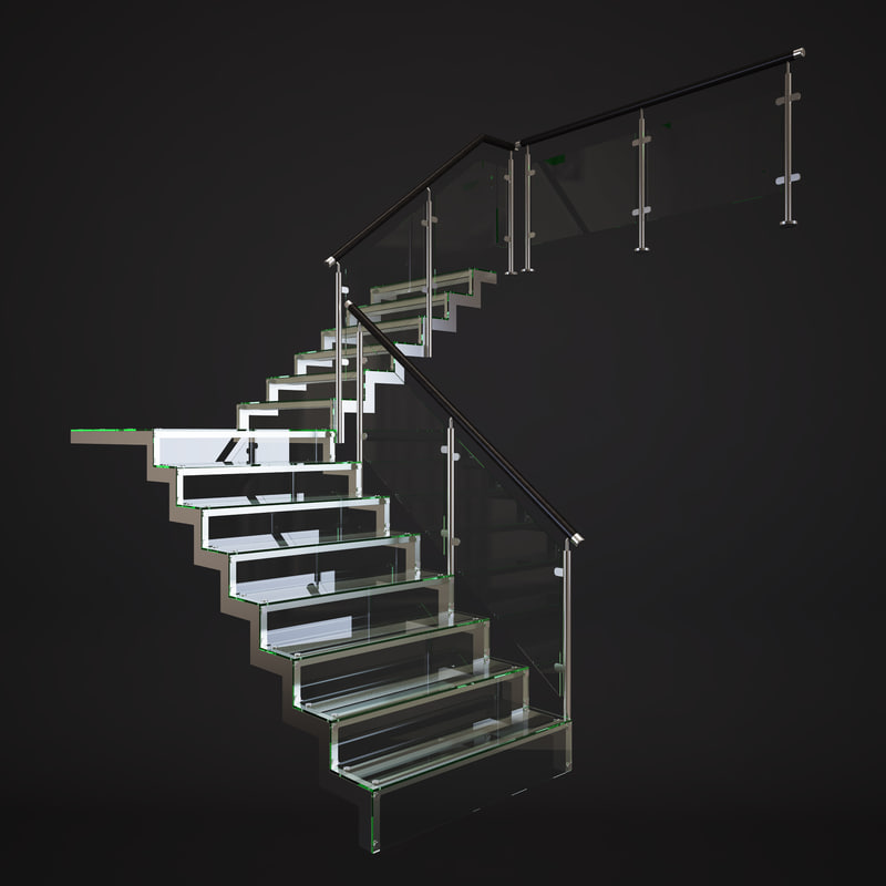 3d glass stairs model