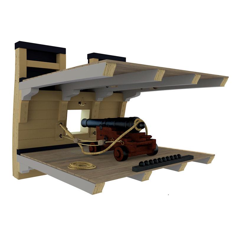 cannon gun deck 3d 3ds