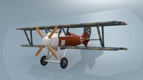 siemens-schuckert d iii fighter aircraft 3d model