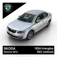 2013 skoda octavia sedan 3d max
