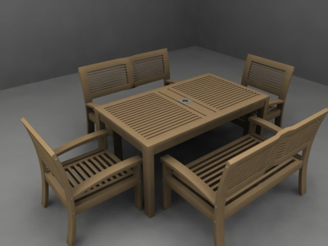 3d wooden outdoor table chair model