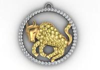 Taurus Zodiac gold diamond pendant