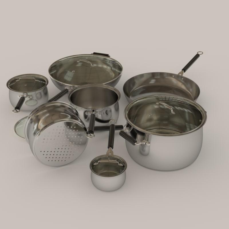 saucepan pot set frying pan 3d obj