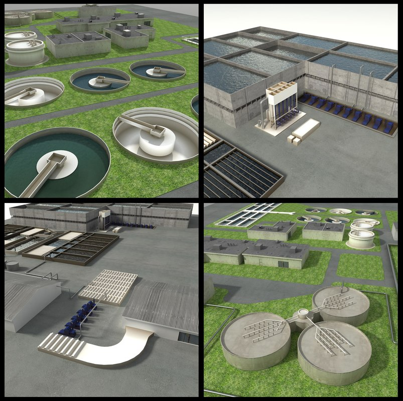 water treatment plant sewage 3d max
