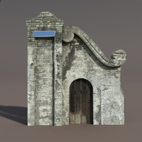 Castle Ruin - Door. Low poly 3d Model