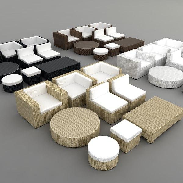 rattan furniture set 4 3d model