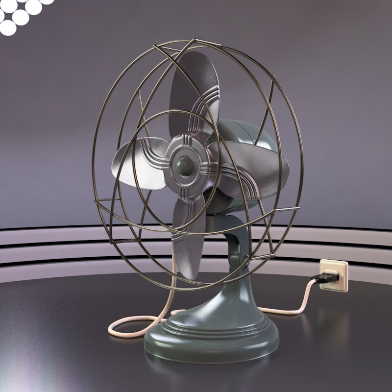 vintage electric fan 3d model
