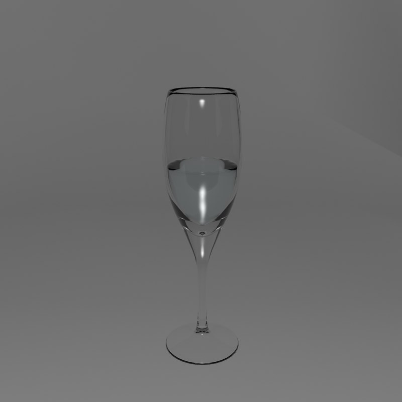 3d wine champagne glass