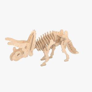 wooden puzzle dinosaur - 3d model