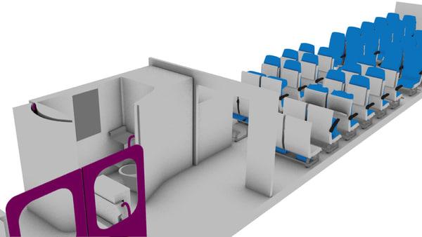 interior train wagon 3d max
