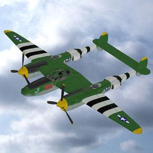 p38 ww2 fighter plane 3d max
