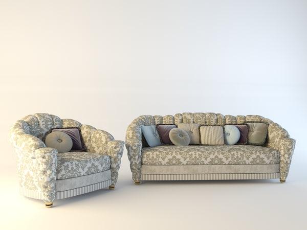 armchair sofa misuro salotti 3d max