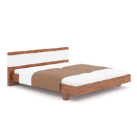 Wooden Bed with Brown Cover