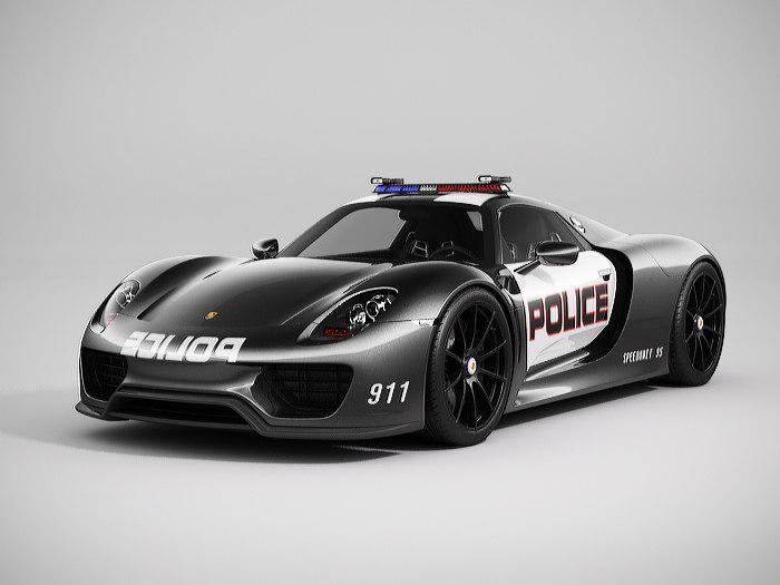3d model porsche 918 spyder police. Black Bedroom Furniture Sets. Home Design Ideas