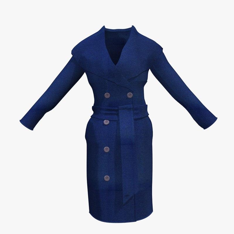 3d 3ds womans blue winter coat
