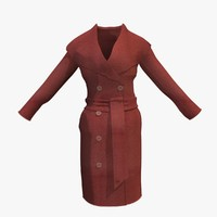 3d womans red winter coat model