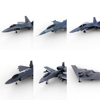 6 aircraft 3d c4d