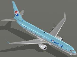 3d boeing 737-900 er korean model